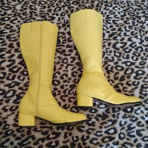 Yellow patent painted GoGo boots